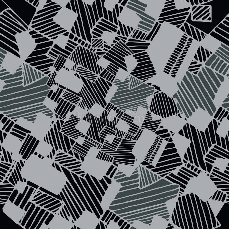 Nahtloses abstraktes geometrisches Muster in den weißen und grauen Farben lizenzfreie abbildung