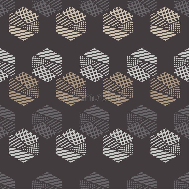 Nahtloses abstraktes geometrisches Muster Die Formen von Hexagonen Beschaffenheitsstreifen, Kontrollen, Punkte stock abbildung