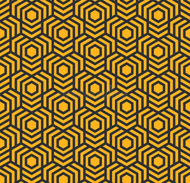 Nahtloses abstraktes geometrisches Muster mit Hexagonen - eps8 stock abbildung