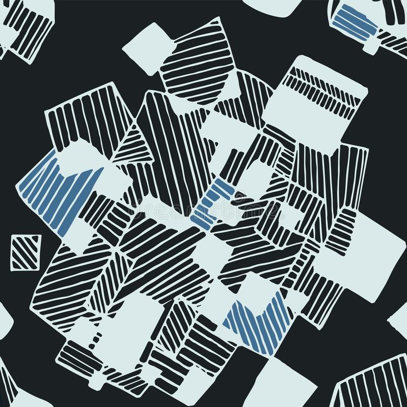Nahtloses abstraktes geometrisches Musterschwarzes und -BLAU lizenzfreie abbildung