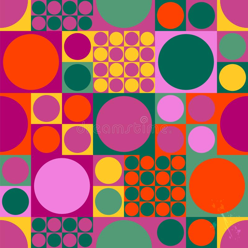 Nahtloses abstraktes geometrisches Pop-Arten-Hintergrundmuster, Retro-/Weinlesesechzigerart, lizenzfreie abbildung