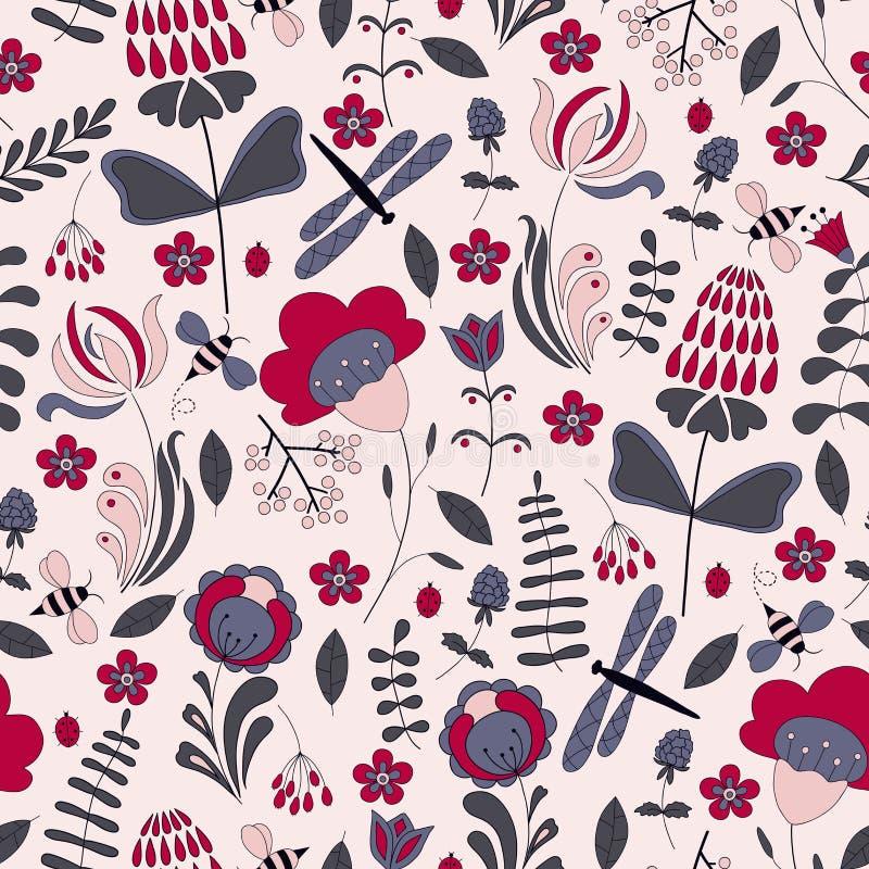 Nahtloses abstraktes handdrawn Blumenmuster lizenzfreie abbildung