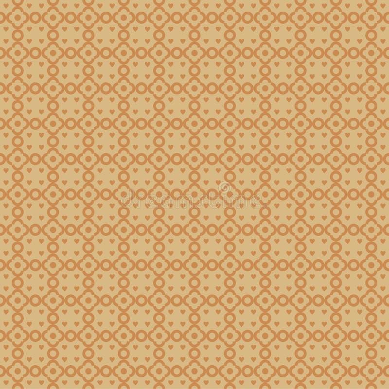 Nahtloses abstraktes Muster mit Liebes- und Kreisform lizenzfreie abbildung