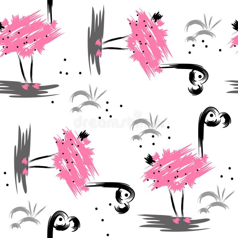 Nahtloses abstraktes Muster mit rosa Flamingo stockfotos
