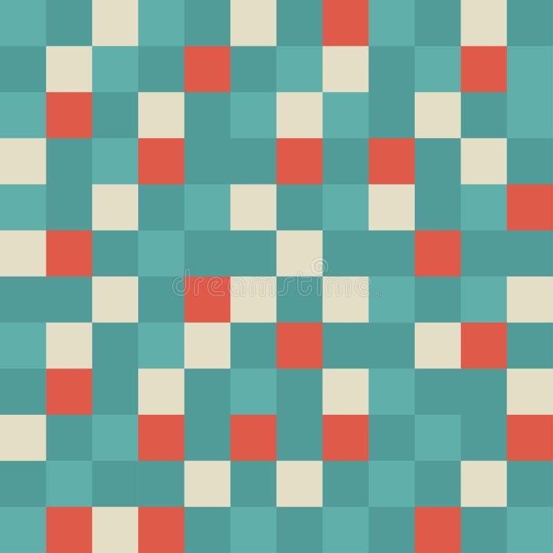 Nahtloses abstraktes Muster mit schäbigen Quadraten von verschiedenen Farben Geometrischer Hintergrund mosaik stockbilder