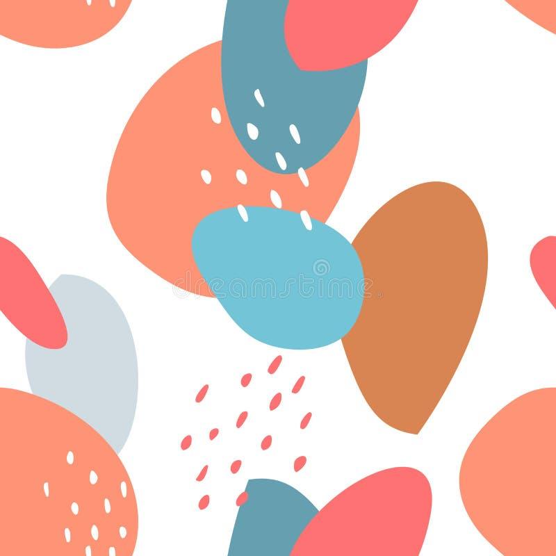 Nahtloses abstraktes Muster mit Stellen und Punkten Blau, beige, rot, Türkisfarben netter Karikaturhintergrund Avan-Garde vektor abbildung