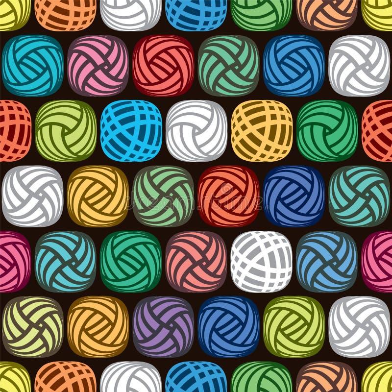 Nahtloses abstraktes Muster von bunten Garnbällen stock abbildung