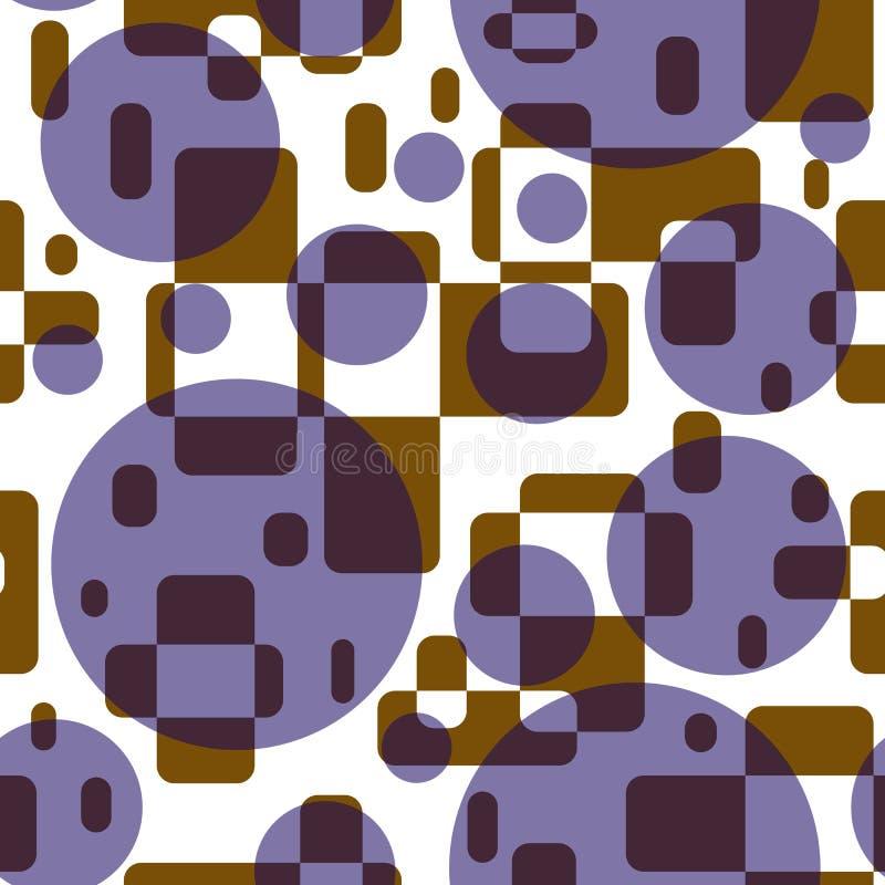 Nahtloses abstraktes Muster von geometrischen Formen Brown-Rechtecke und lila Kreise bedeckten vektor abbildung