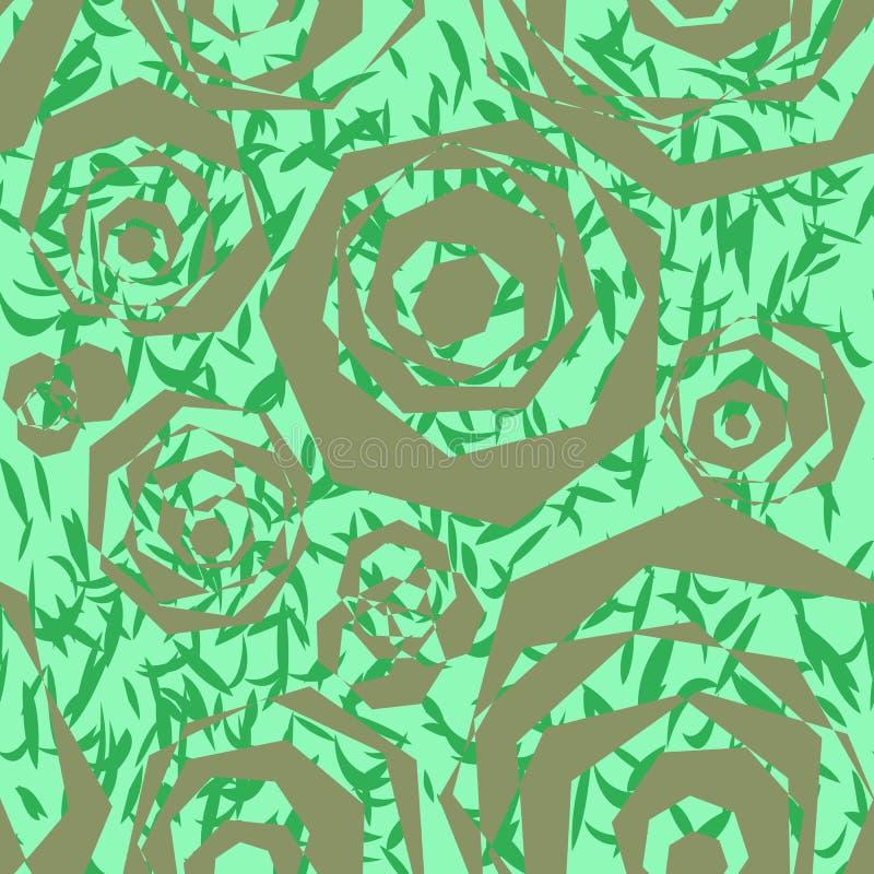 Nahtloses abstraktes Muster von polygonalen silbernen Elementen, ähnlich stilisierten Rosen und grünen Blättern stock abbildung