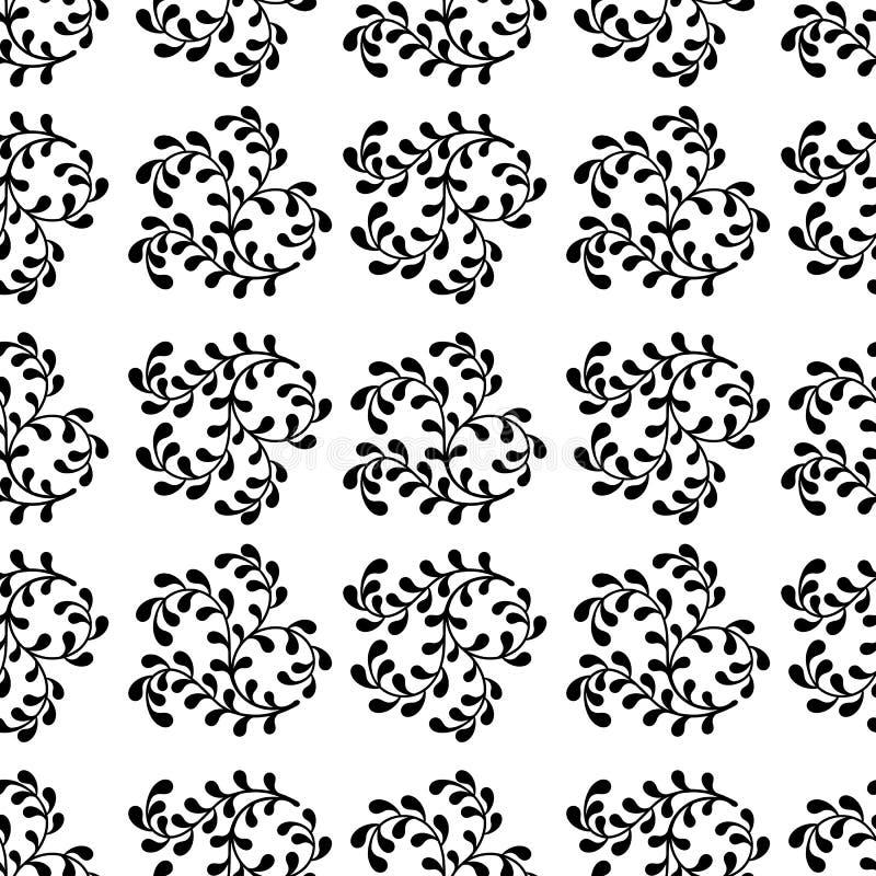 Nahtloses abstraktes Muster von schwarzen Niederlassungen auf einem weißen backgroun lizenzfreie abbildung