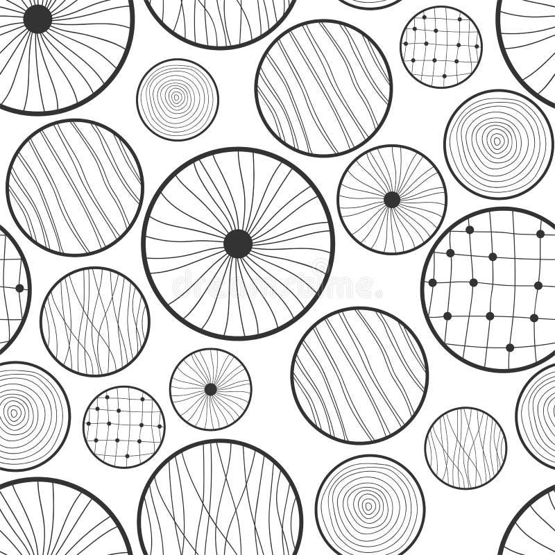 Nahtloses abstraktes Schwarzweiss-Muster von Kreisen stock abbildung