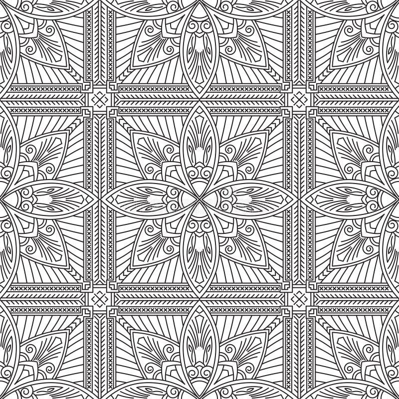 Nahtloses abstraktes Stammes- Schwarz-weißes Muster in der Monolinie Art stock abbildung