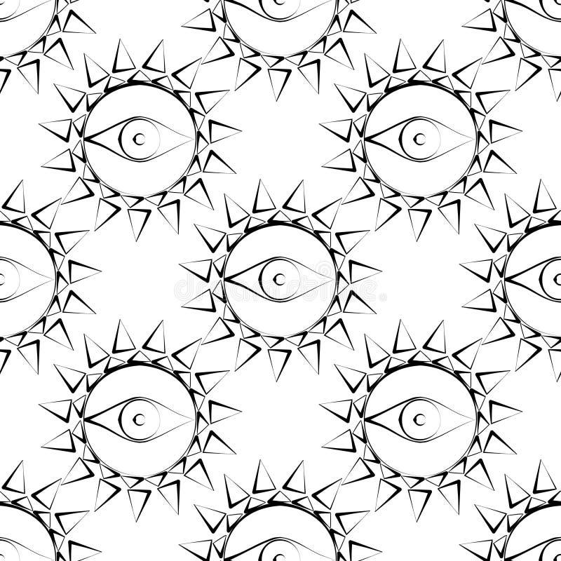 Nahtloses abstraktes Vektormuster mit Sonne mit Augen Symmetrischer Schwarzweiss-Hintergrund stock abbildung