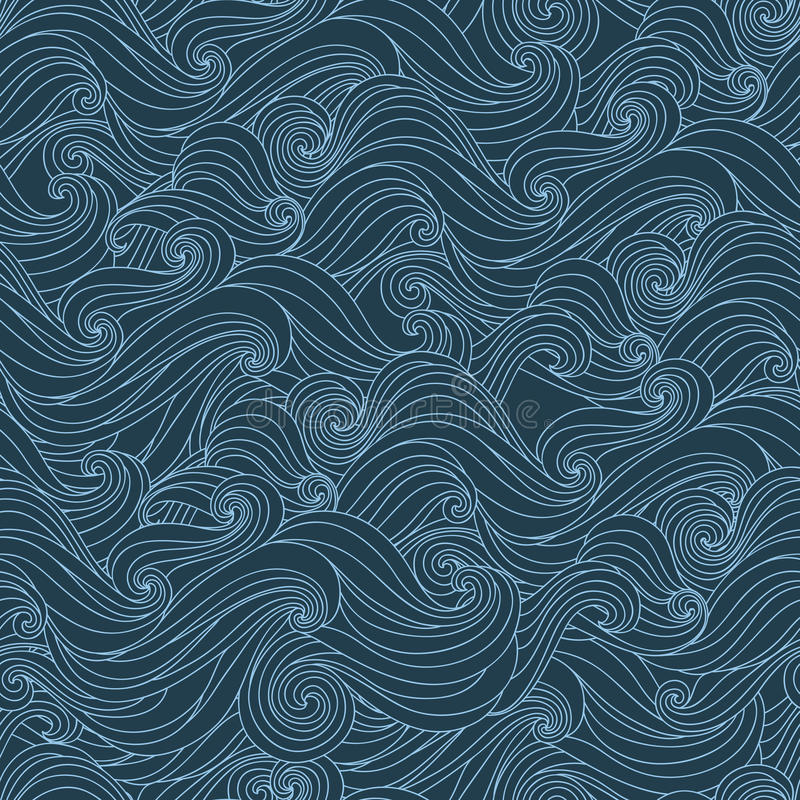 Nahtloses abstraktes von Hand gezeichnetes Muster, Wellen backgr stock abbildung
