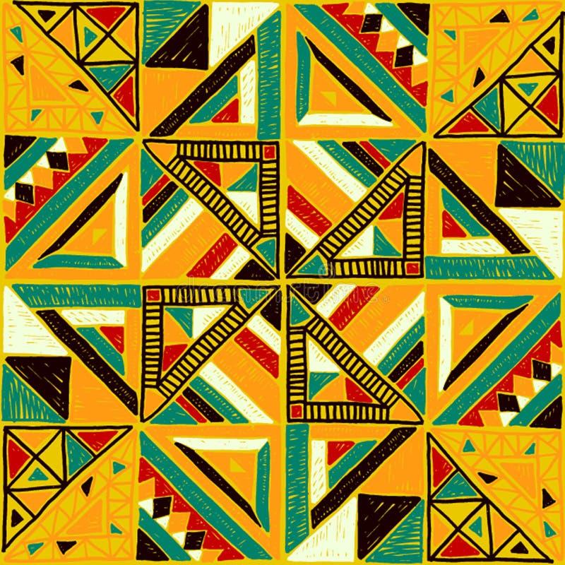 Nahtloses afrikanisches Muster Ethnische Verzierung auf dem Teppich Aztekische Art Zahl Stammes- Stickerei Indisches, mexikanisch lizenzfreie abbildung