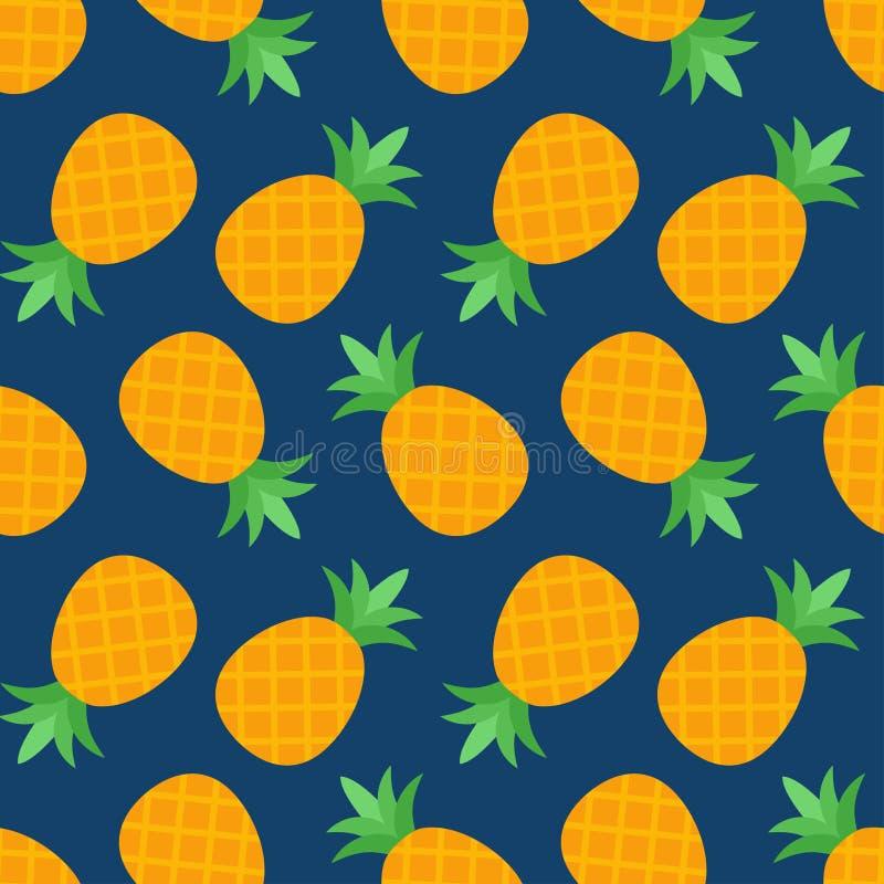Nahtloses Ananasmuster auf blauem Hintergrund lizenzfreie abbildung