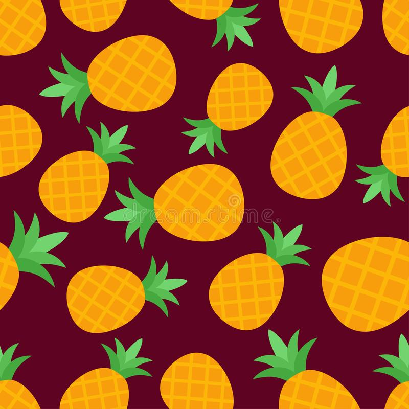 Nahtloses Ananasmuster auf Burgunder-Hintergrund lizenzfreie abbildung