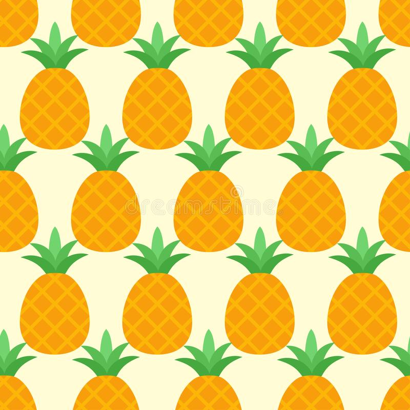 Nahtloses Ananasmuster des Vektors auf gelbem Hintergrund lizenzfreie abbildung