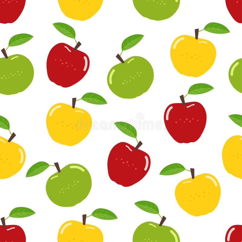 Nahtloses Apfelmuster lizenzfreie abbildung
