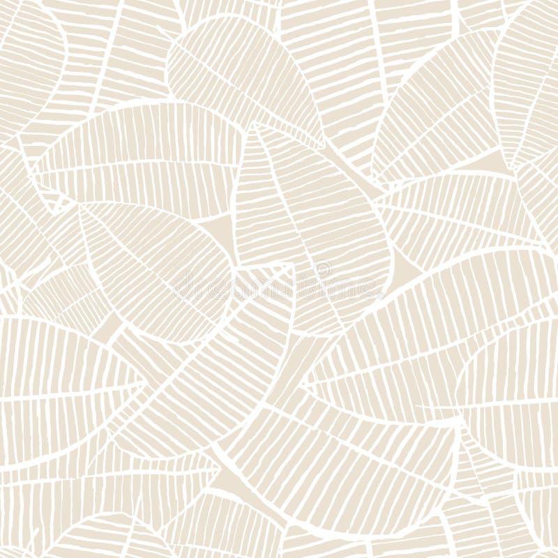 Nahtloses Aquarell des Vektors verlässt Muster Beige und weißer Frühlingshintergrund Blumenmuster für Modetextildruck lizenzfreie abbildung