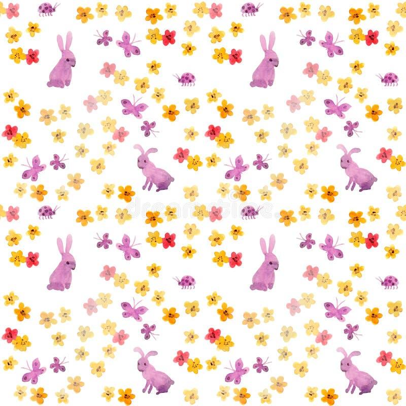 Nahtloses Aquarellmuster mit netten handgemalten Kaninchen, ursprünglichen Blumen und naiven Schmetterlingen Kindischer Watercolo stockbilder
