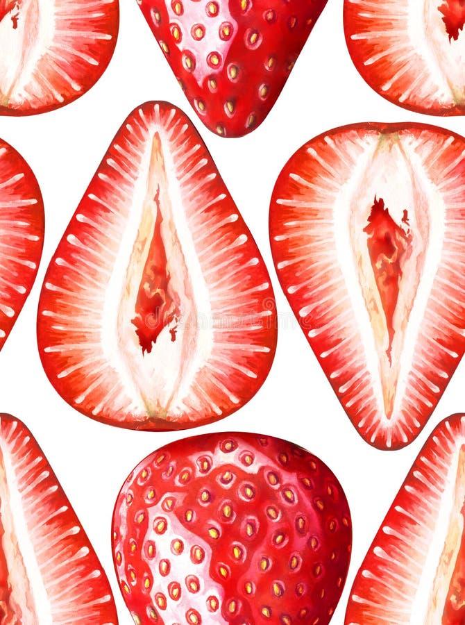 Nahtloses Aquarellmuster mit reifen Erdbeeren auf weißem Hintergrund stockfotos