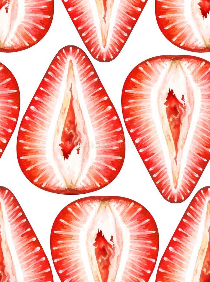 Nahtloses Aquarellmuster mit reifen Erdbeeren auf weißem Hintergrund stockfoto