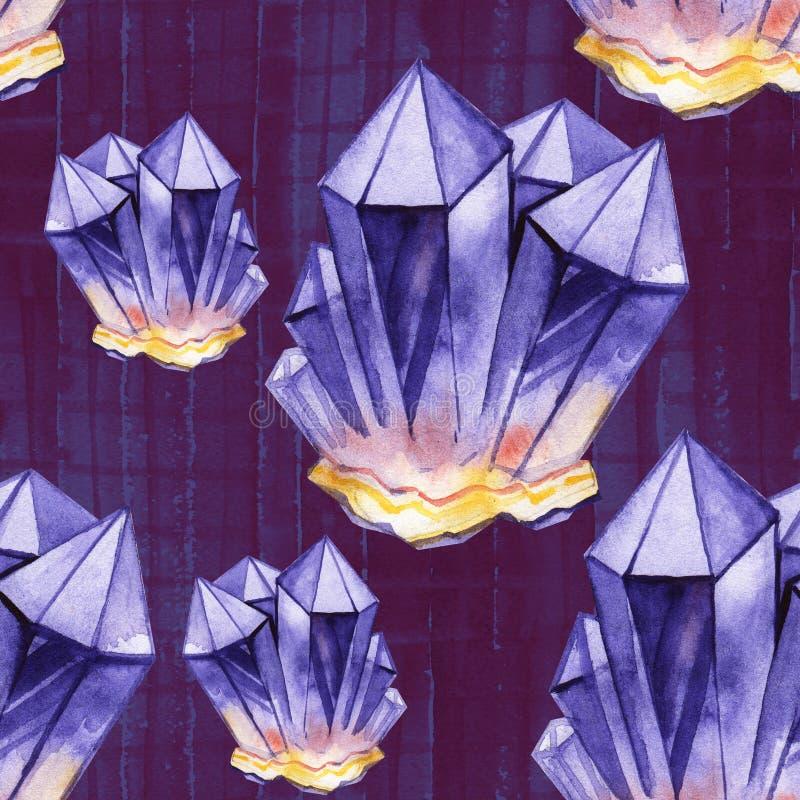 Nahtloses Aquarellmuster Purpurrote Kristalle Hand gezeichnet stock abbildung