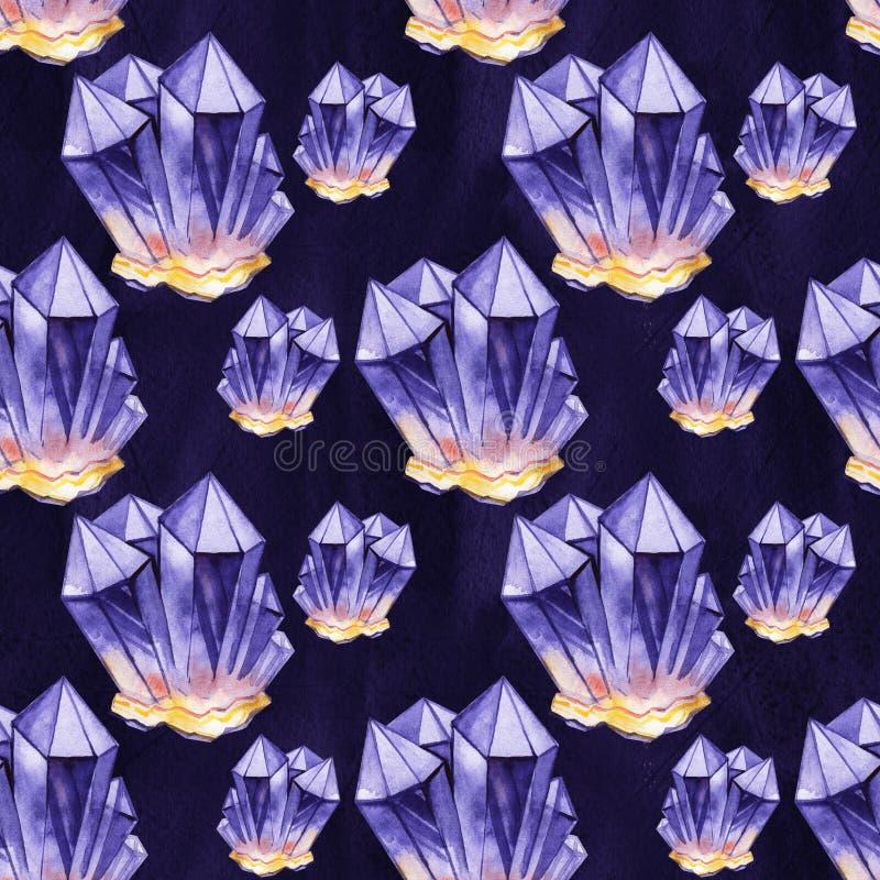Nahtloses Aquarellmuster Purpurrote Kristalle Hand gezeichnet lizenzfreie abbildung