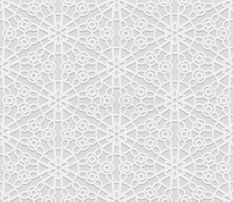 Nahtloses arabisches geometrisches Muster, 3D weißes Muster, indische Verzierung, persisches Motiv, Vektor Endlose Beschaffenheit lizenzfreie abbildung