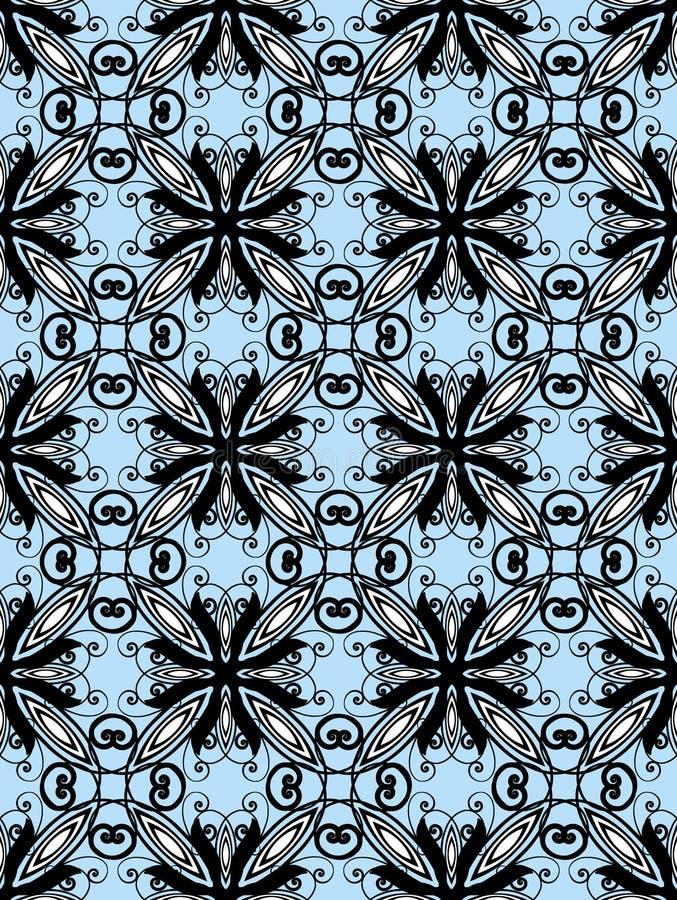 Nahtloses Art- DecoSchwarzes auf Blau vektor abbildung