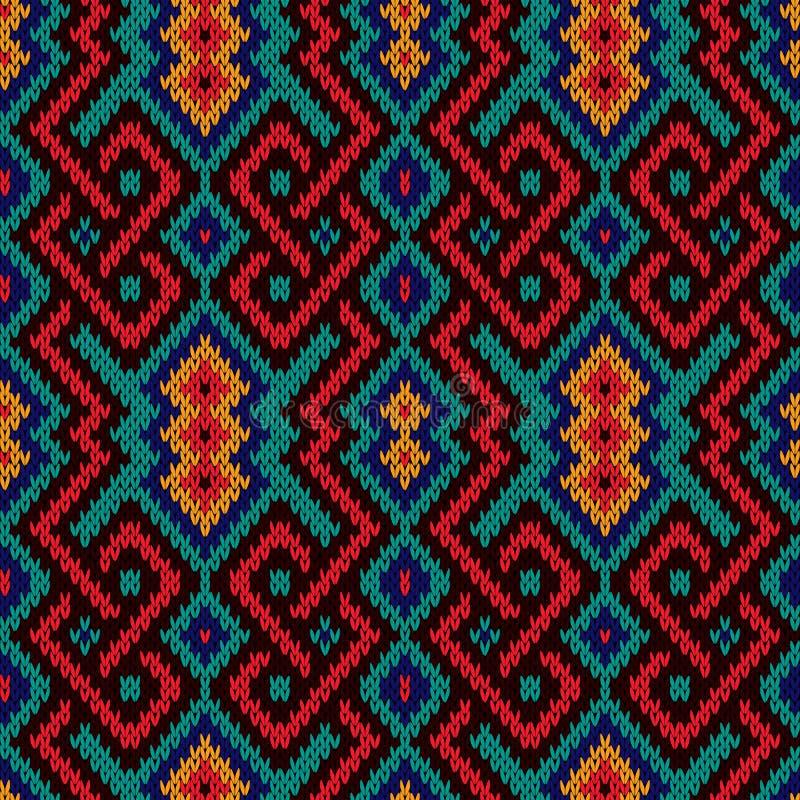 Nahtloses aufwändiges gestricktes Muster stock abbildung