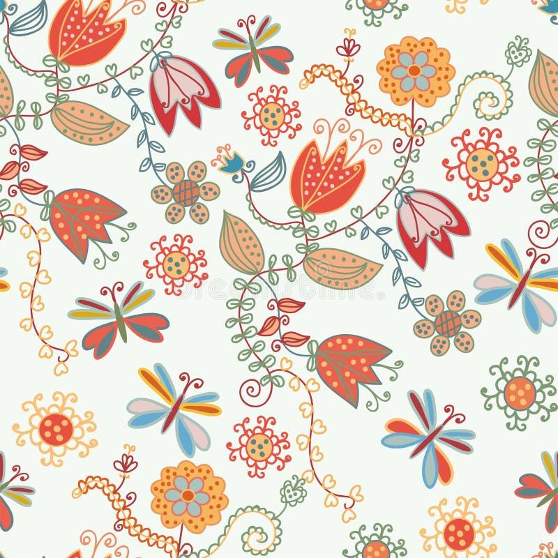 Nahtloses aufwändiges mit Blumenmuster mit Tulpen lizenzfreie abbildung