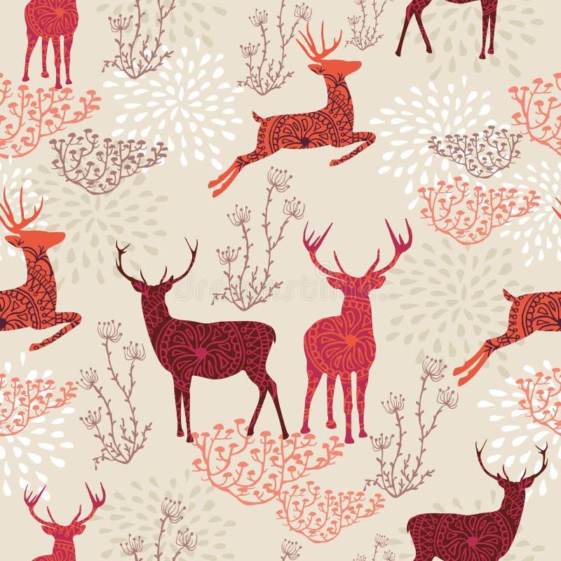 Nahtloses backgr Muster der Weinlese-Weihnachtselemente lizenzfreie abbildung