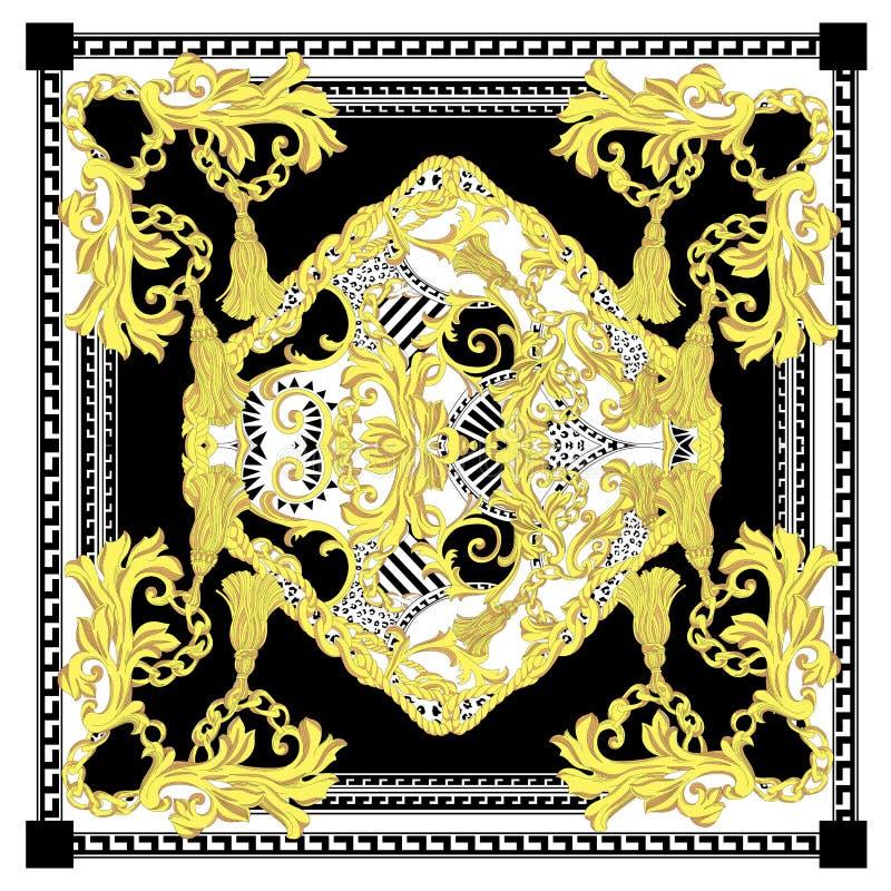 Nahtloses Barock mit weißem schwarzem Goldfarbschal lizenzfreie abbildung