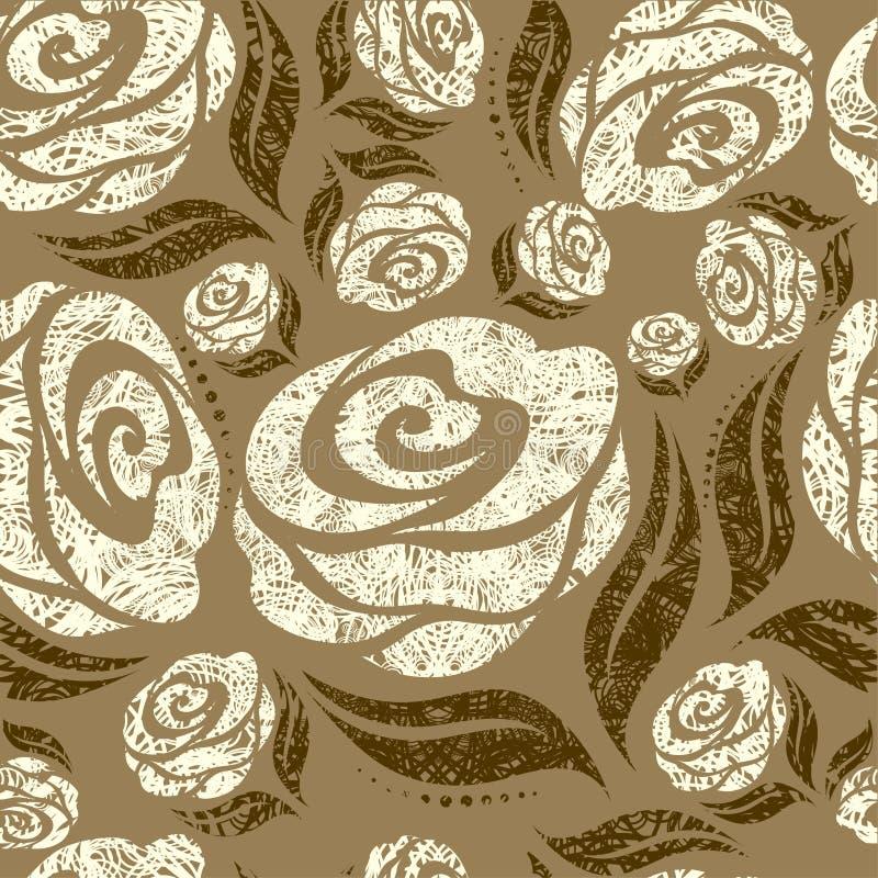 Nahtloses beige grunge rosafarbenes Muster lizenzfreie abbildung