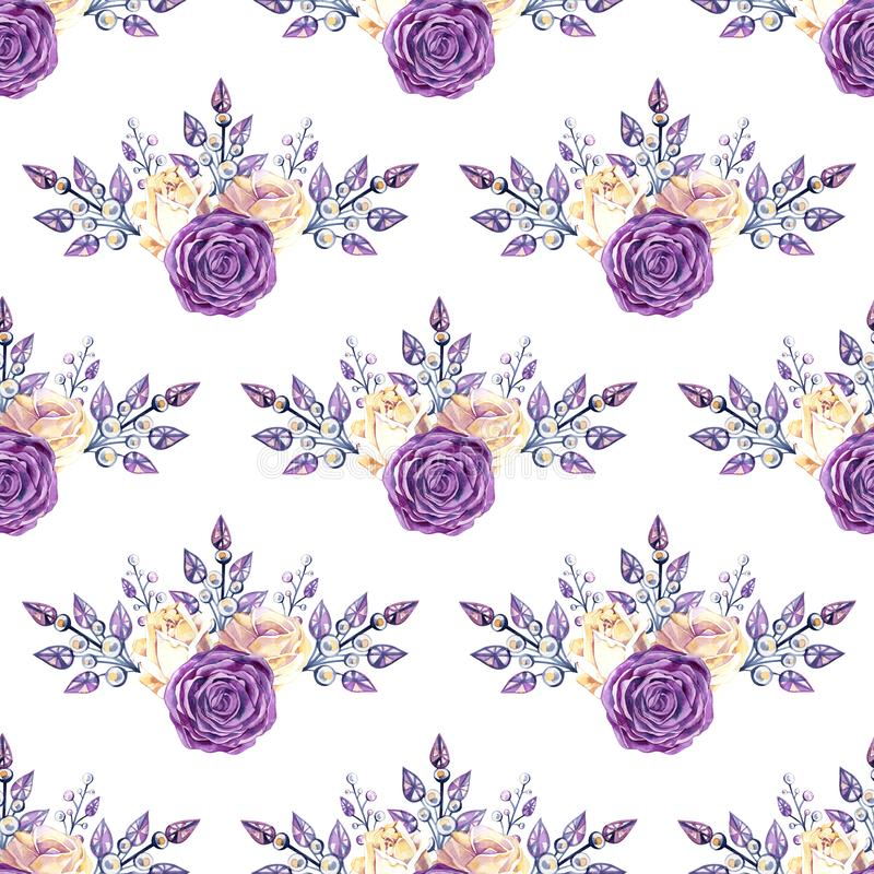 Nahtloses Beschaffenheitsmuster des Rosas und der gelben Rosen, des Schmucks und der Bergkristalle Geometrische Verzierung auf ei stockbild