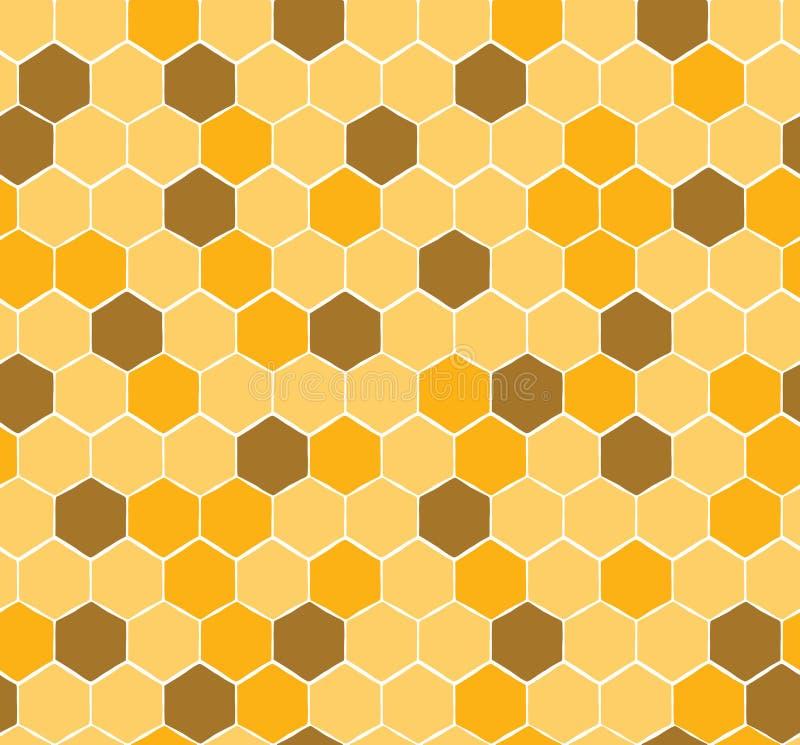 Nahtloses Bienenwaben-Muster mit Gelb und Goldhonig lizenzfreie abbildung