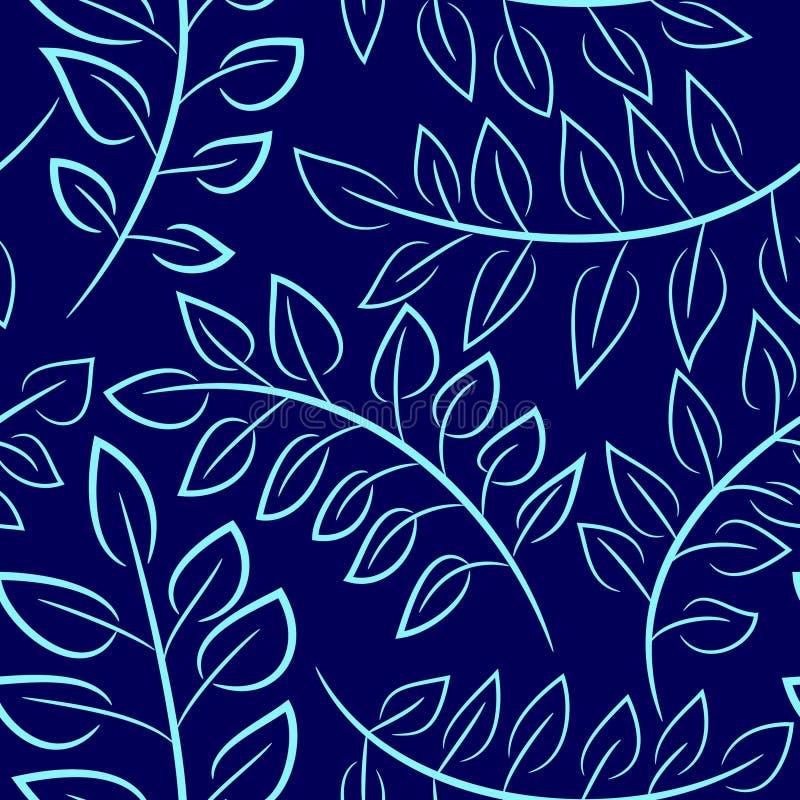 Nahtloses blaues Blumenmuster mit Blättern stockbilder
