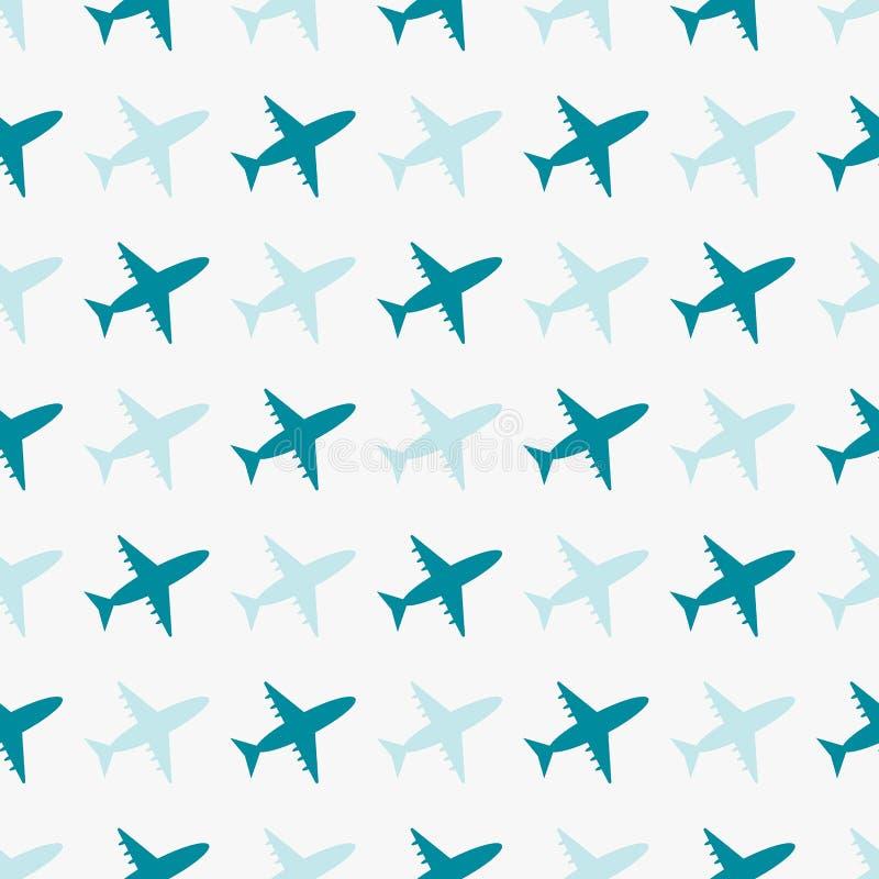 Nahtloses blaues Muster des Vektors mit Flugzeugen lizenzfreie abbildung