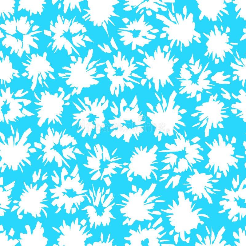 Nahtloses blaues Muster mit Weiß spritzt und blitzt lizenzfreie abbildung