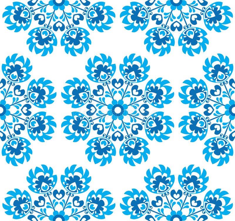 Nahtloses blaues polnisches Volkskunstmit blumenmuster - wzory lowickie, wycinanki lizenzfreie abbildung