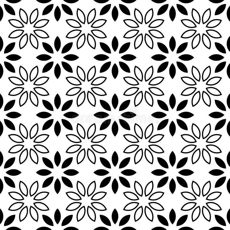 Nahtloses Blumenblatt Muster-Schwarzweiss-Vektor-Illustration lizenzfreie abbildung
