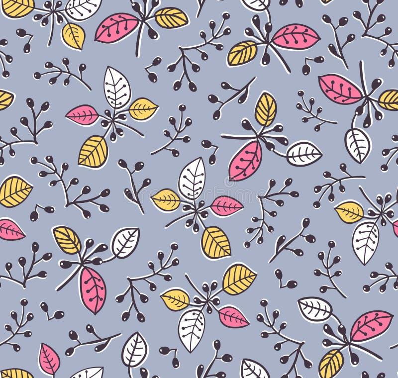 Nahtloses Blumenfrühlingsmuster des stilvollen Vektors mit Niederlassungen und Blättern Dekorativer Hintergrund vektor abbildung