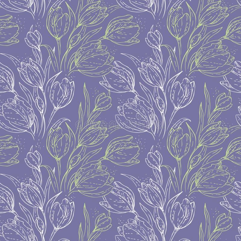 Nahtloses Blumenmuster lizenzfreie abbildung