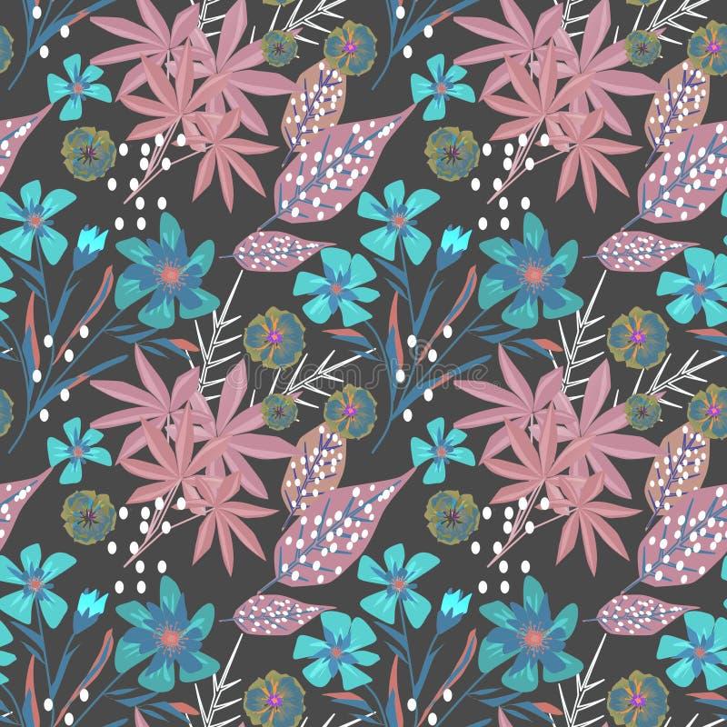 Nahtloses Blumenmuster auf dunkelgrauem Hintergrund lizenzfreie abbildung
