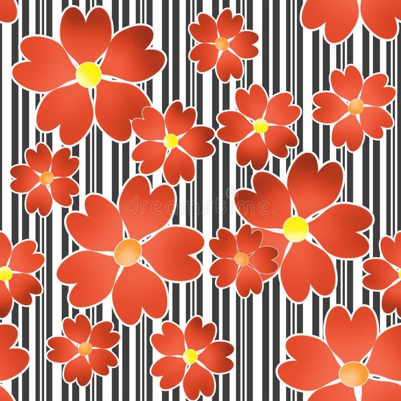 Nahtloses Blumenmuster auf Schwarzweiss-Streifenhintergrund stock abbildung