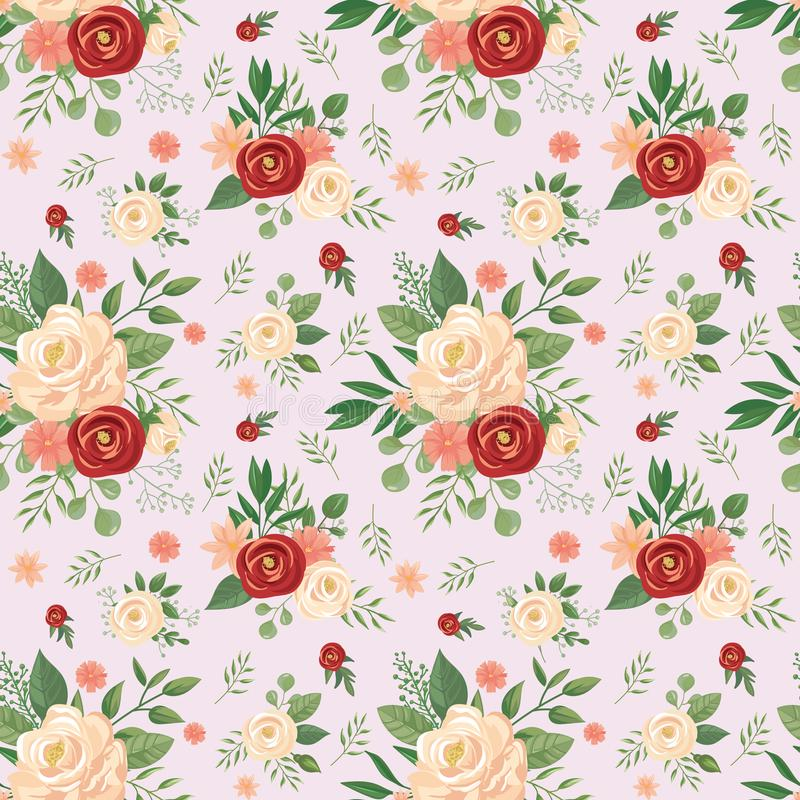 Nahtloses Blumenmuster Blumendruck, stieg Blumenknospen- und Rosenvektorhintergrundillustration vektor abbildung