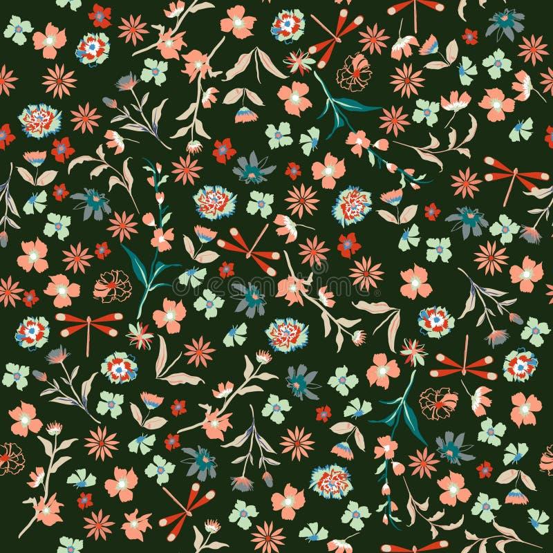 Nahtloses Blumenmuster der schönen Freiheit der Weinlese Hintergrund herein stock abbildung