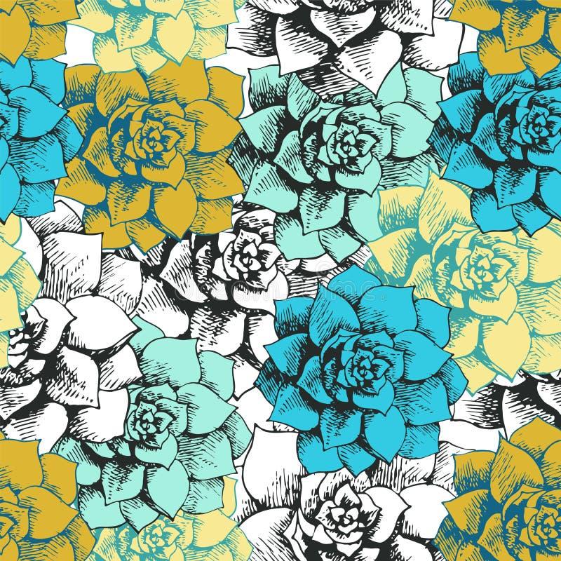 Nahtloses Blumenmuster der Weinlese lizenzfreie abbildung